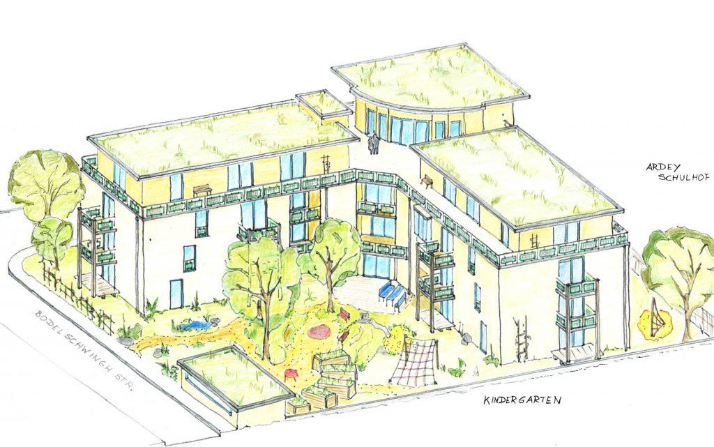 """Eine erste Skizze für unser Haus entwickelt mit dem Architektenteam """"Alte Windkunst"""""""
